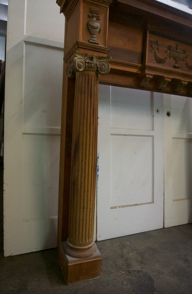 Natural, Unfinished Wood Mantel with Urn Motif