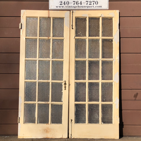 Authentic frosted glass French doors (pair only)