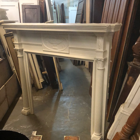 White Ornate Heavy Urn Design Fireplace Mantel
