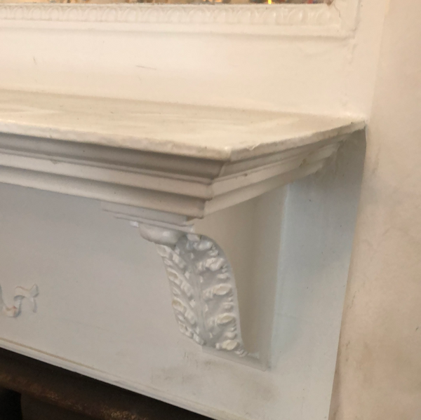 Egg and Dart double tier mantel , painted white