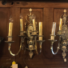 Load image into Gallery viewer, Pair of antique silver plated sconces