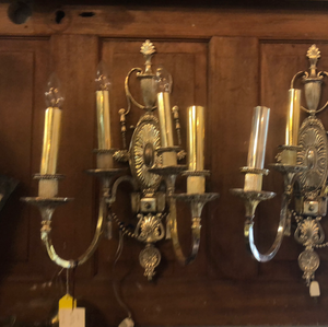 Pair of antique silver plated sconces