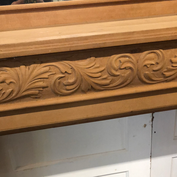All natural Cherry, stripped ornate mantel