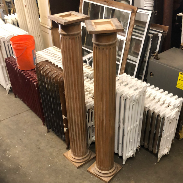 Natural wood columns (pair)