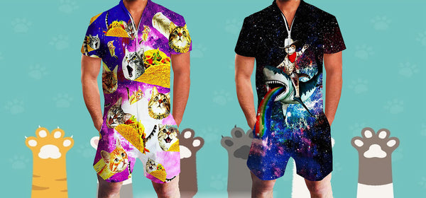 Best Graphic Cat Rompers at Forest Coral