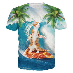 Coconut Tree Cat Surfing Pizza T Shirt