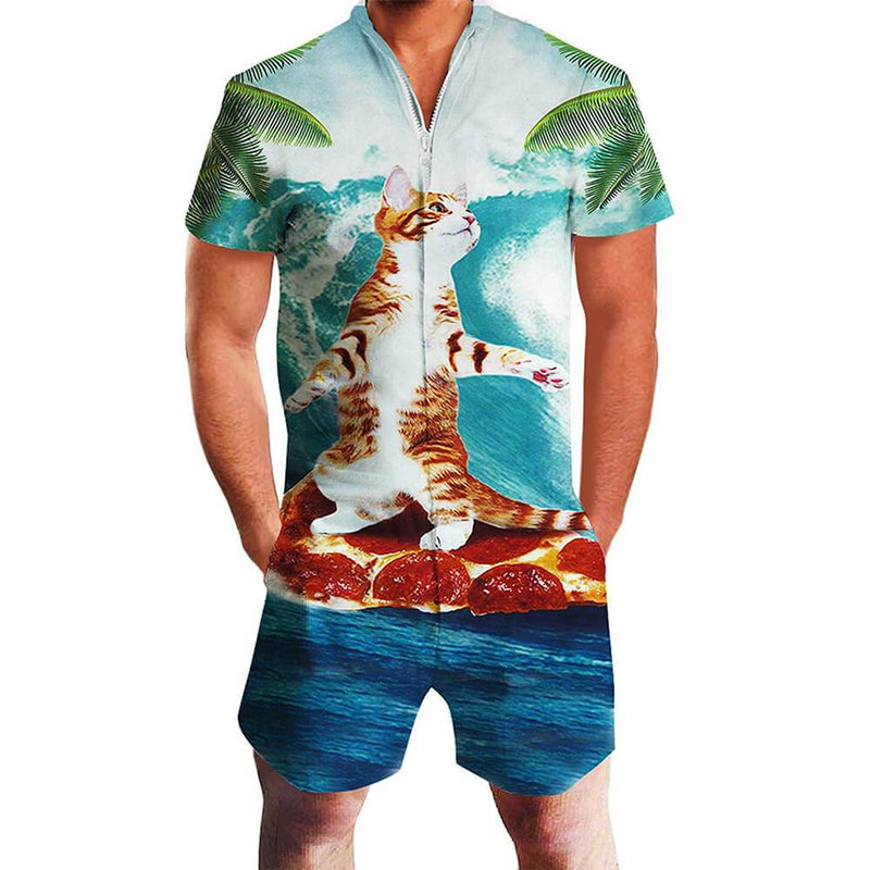 Cat Surfing Pizza One Piece Male Romper