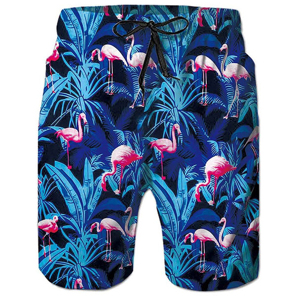 Pink Flamingos Swim Trunks Blue