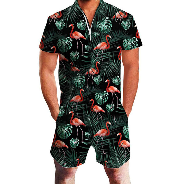 Dark Green Flamingo One Piece Male Romper