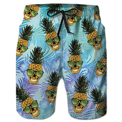 Skull Pineapple Graphic Swim Trunks