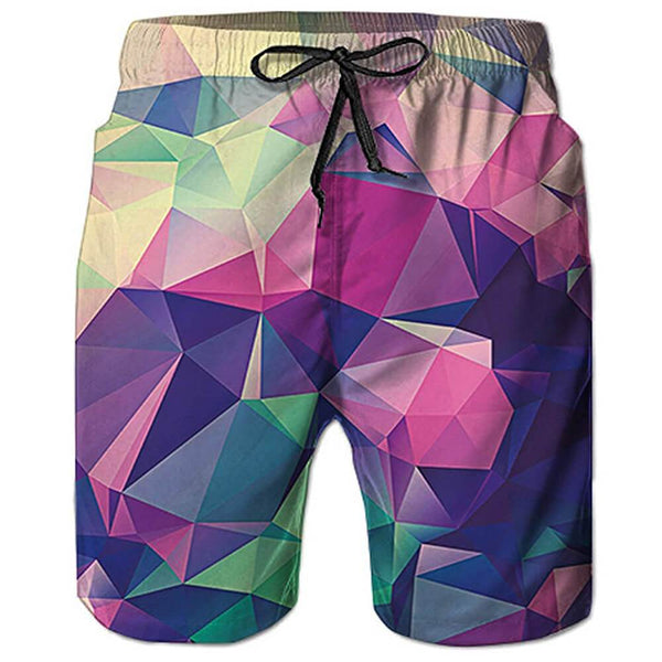 Funny Diamond Swim Trunks Quick Dry Beachwear