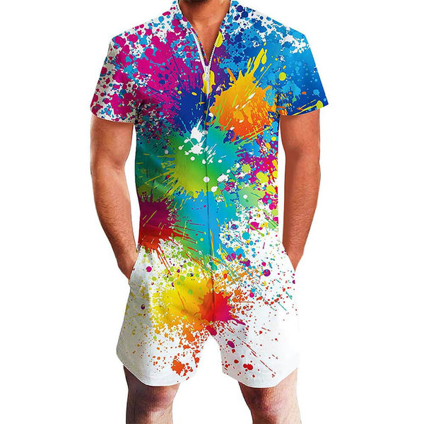 Color Paint One Piece Male Romper