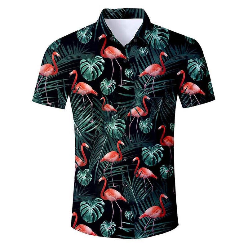 Dark Green Red Flamingo Shirt