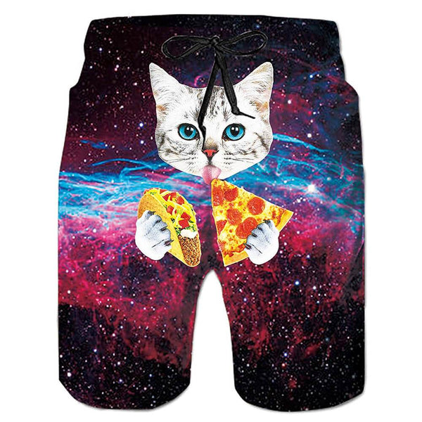 Pizza Taco Cat Swim Trunks