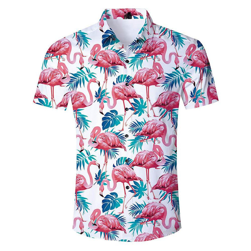 Pink Flamingo Shirt White