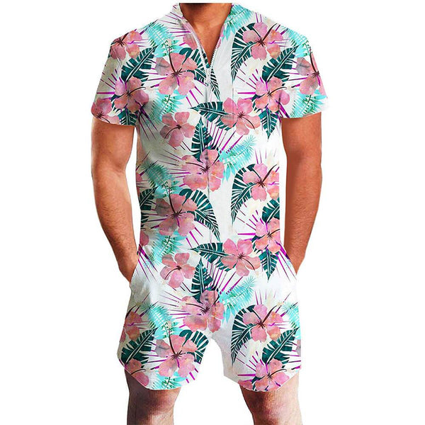 Tropical Flowers One Piece Male Romper