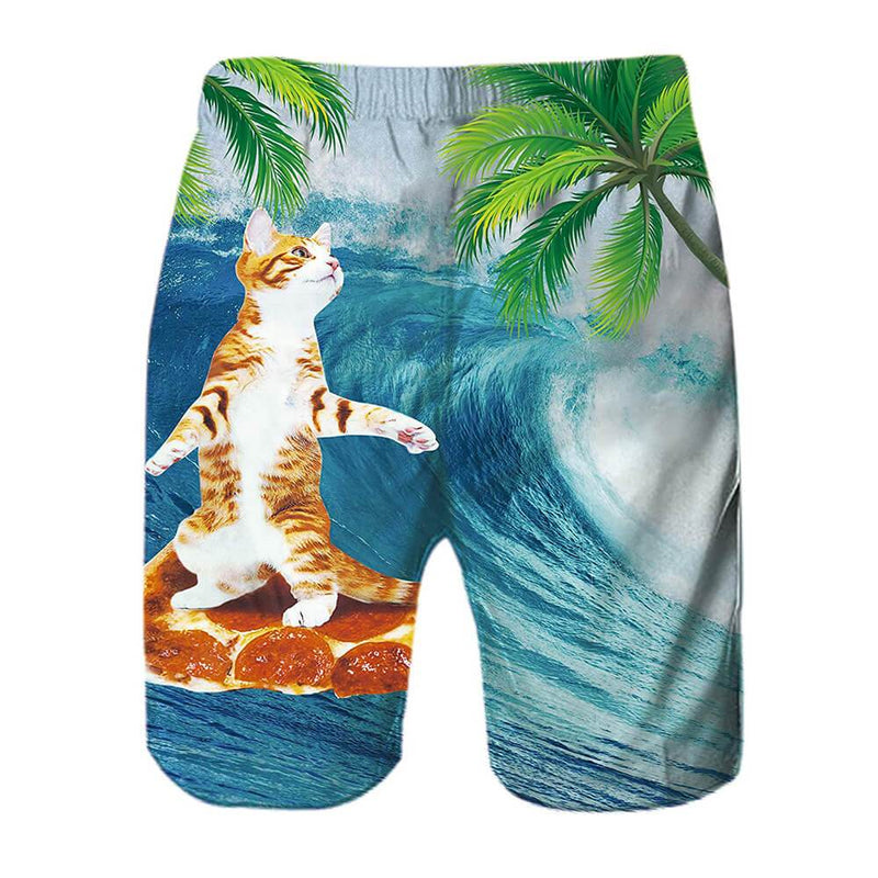 Cat Surfing On Pizza Swim Trunks