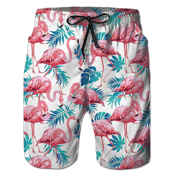 Pink Flamingo Swim Trunks White