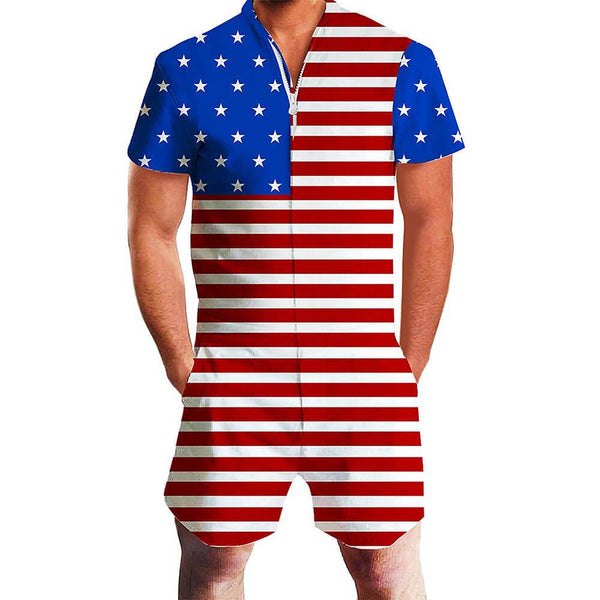 American Flag One Piece Male Romper