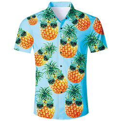 Pineapple Glasses Hawaiian Shirt Light Blue
