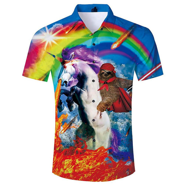 Sloth Riding Unicorn Aloha Shirt