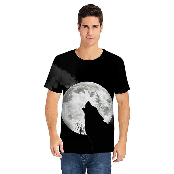 Black Full Moon Wolf T Shirt