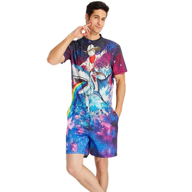 Cat Riding Shark One Piece Male Romper