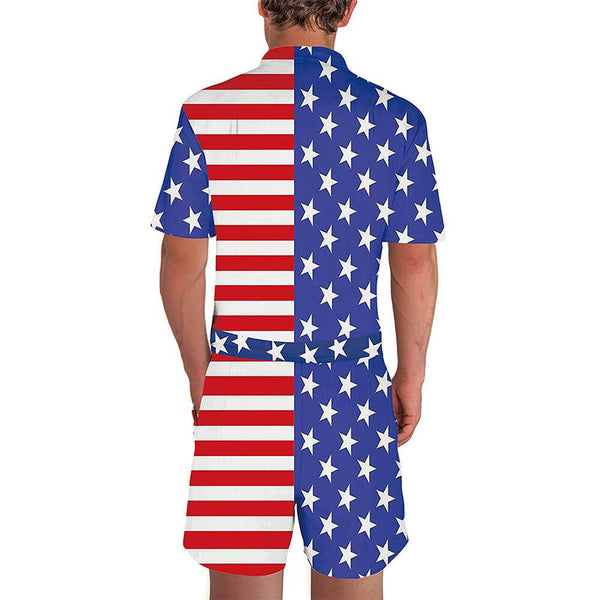Eagle American Flag One Piece Male Romper