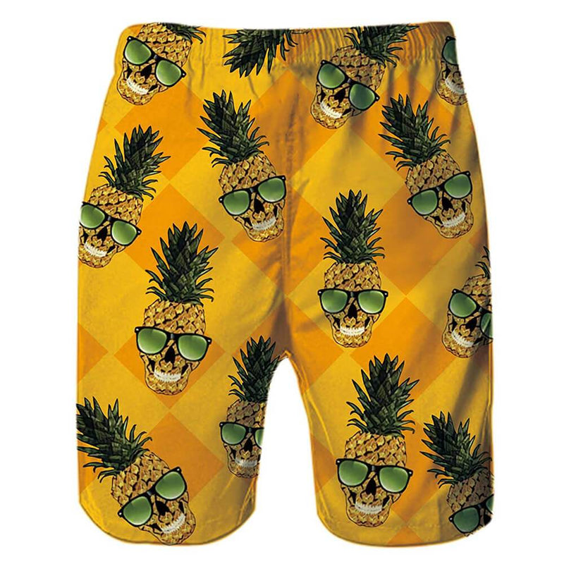 Yellow Skull Glasses Pineapple Swim Trunks