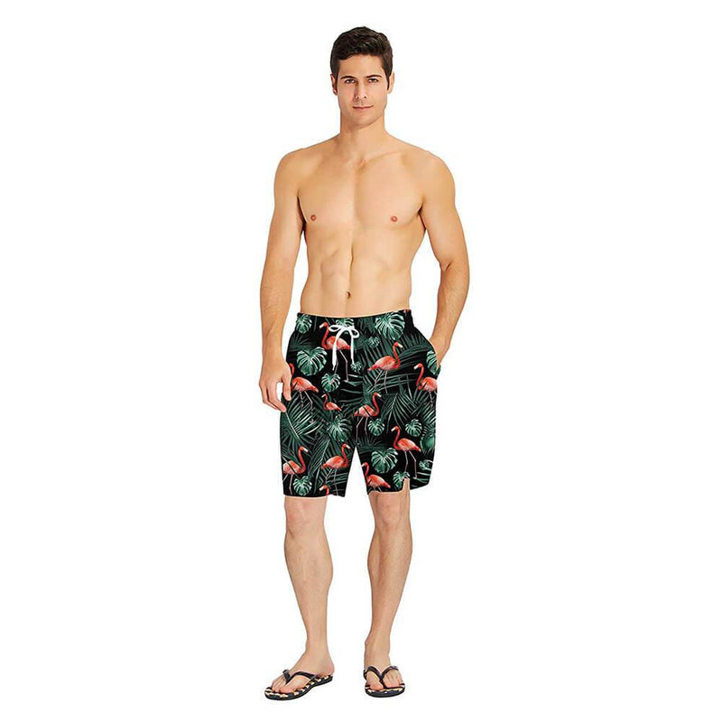 Red Flamingo Swim Trunks Dark Green