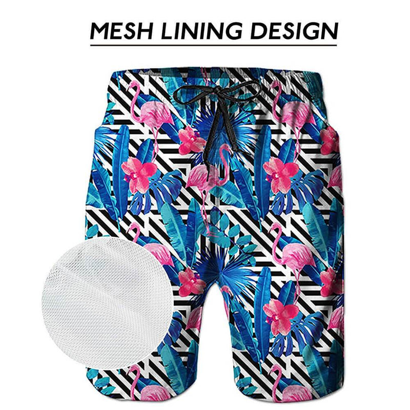 Flowers Flamingos Blue Swim Trunks