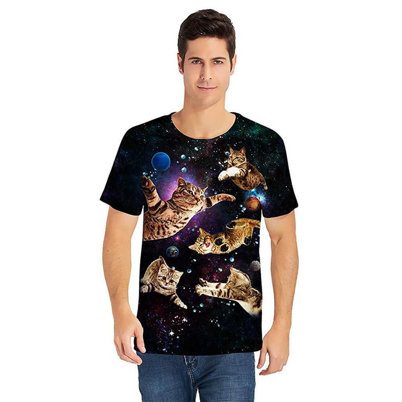 Flying Cats Black T Shirt