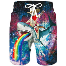 Cat Riding Shark Swim Trunks