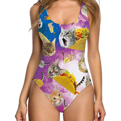 Taco Cat One Piece Bathing Suit