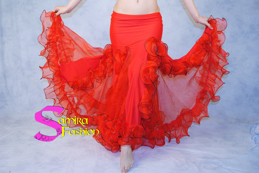 Gonna Belly Dance Volants Fluo - Rosso