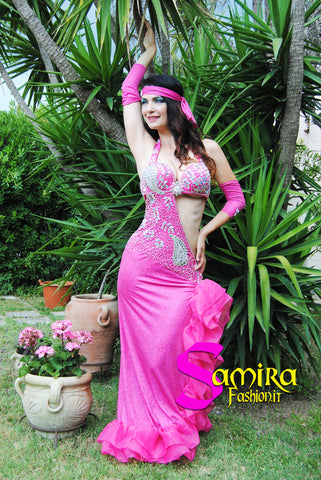 Bellydance Stretch Glam 73 - Fucsia - Semi-Intero