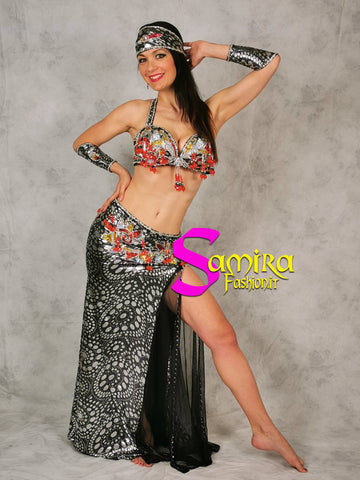 Stretch Glam 91, Belly dance costume, Silver and Black