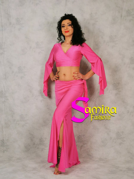 Set Bellydance Top, Pants, Cinta Lycra Fucsia