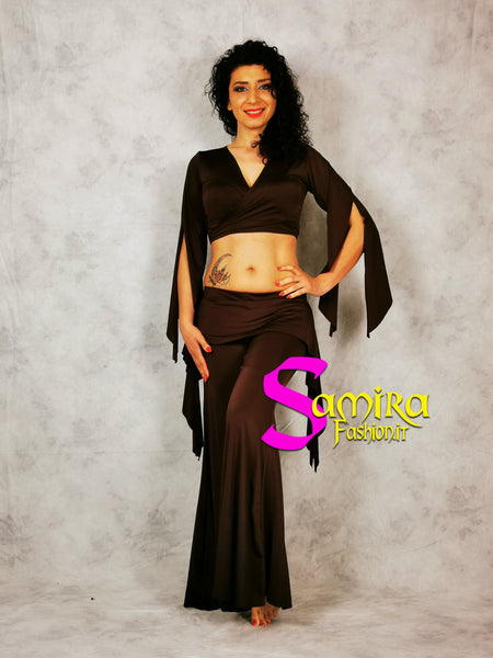 Set Bellydance Top, Pants, Cinta Lycra Marrone