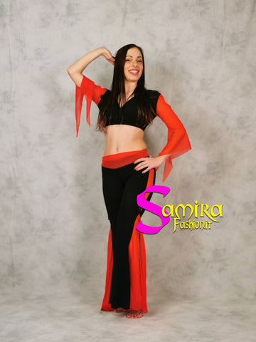 Set Bellydance Top, Pants, Cintina - Rosso/Nero