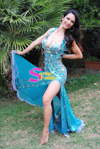 Stretch Extra Lux 150, Bellydance Dress - Turchese con Specchi