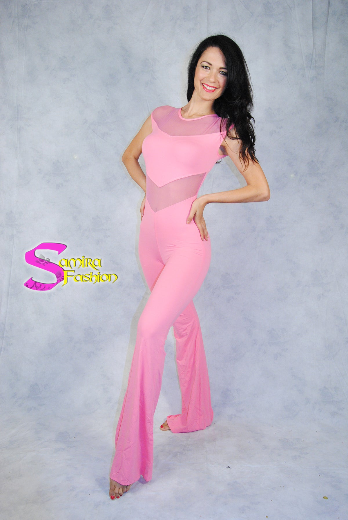 Catsuit Chic Rosa Pesca - Bellydance, Salsa