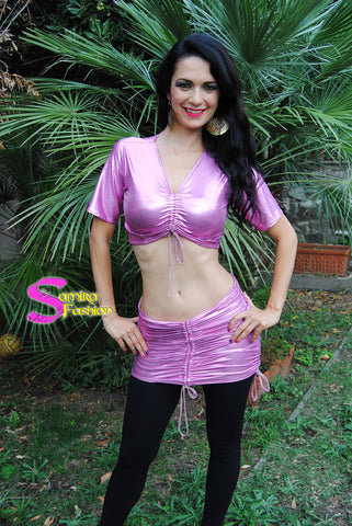 Set Top + Stretch Mini Skirt  Belly Dance 33 - Rosa