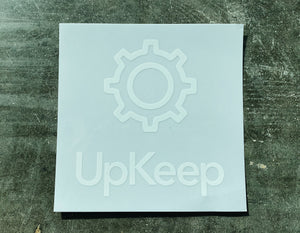 White UpKeep Car Decal