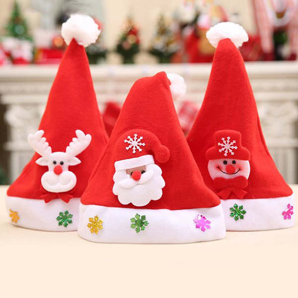 Kids Cute Cartoons Christmas Hats Santa Claus Cap Merry Christmas Decoration Christmas Gift