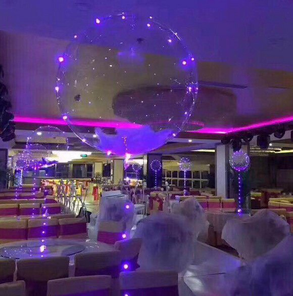 2PCS Christmas 18 inch Luminous Led Balloons Transparent Round Bubble Decoration
