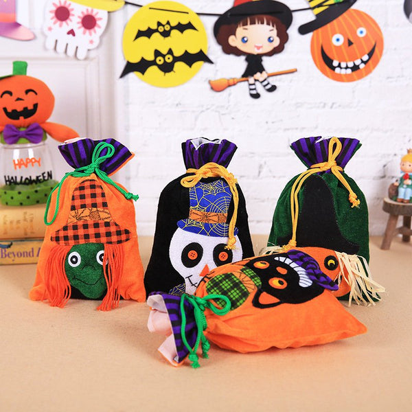 Halloween Non-woven Bundle Mouth Candy Bag Children's Ghost Festival Portable Pumpkin Bag