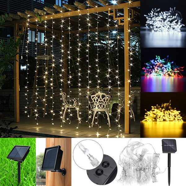 3mx3m LED Solar Powered Fairy String Curtain Light Lamp Outdoor Party Xmas Party