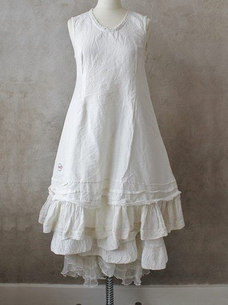 White Sleeveless Cotton Dresses