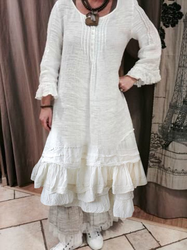 Women's Casual Cotton-Linen Long Sleeve Ruched Dress